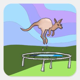 Pegatina Cuadrada Trampolín del canguro