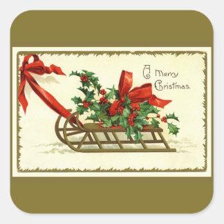 Pegatina Cuadrada Trineo de oro del navidad del vintage