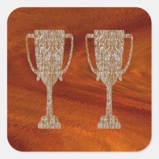 Pegatina Cuadrada TROFEO del oro: Celebración de la recompensa del