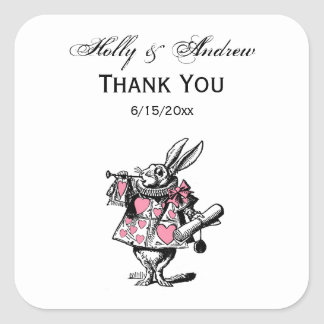 Pegatina Cuadrada Trompetista blanco Alicia de la corte del conejo