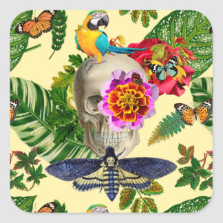 Pegatina Cuadrada Tropical Skull