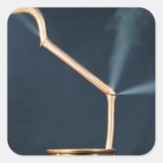 Pegatina Cuadrada Tubos de cobre con un escape y un vapor