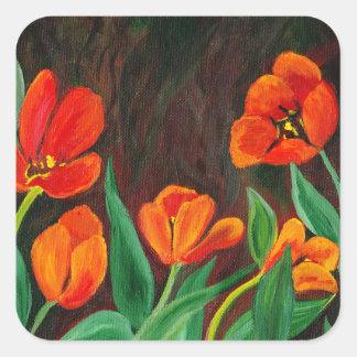 Pegatina Cuadrada Tulipanes rojos
