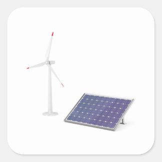 Pegatina Cuadrada Turbina de viento y el panel solar