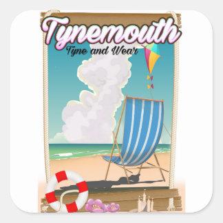 Pegatina Cuadrada Tynemouth Tyne y desgaste, poster del viaje