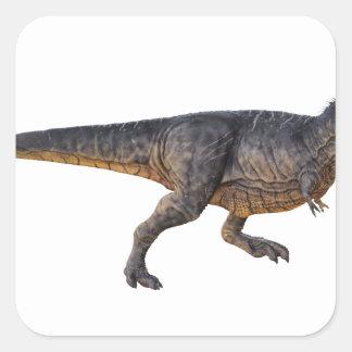 Pegatina Cuadrada Tyrannosaurus-Rex con el colorante amarillo