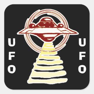 Pegatina Cuadrada U.F.O - Haz amarillo/rojo del anillo