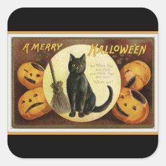 Pegatina Cuadrada Un feliz negro del gato negro y de las calabazas