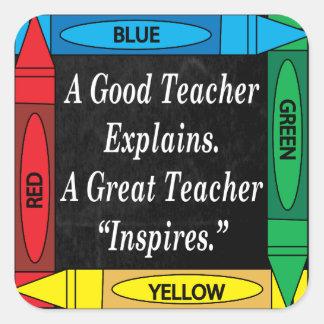Pegatina Cuadrada Un gran profesor inspira