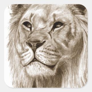 Pegatina Cuadrada Un león - sin arte del bosquejo del dibujo del