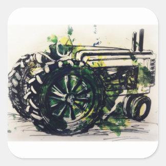 Pegatina Cuadrada ¡Un tractor!
