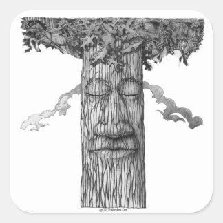 Pegatina Cuadrada Un &W poderoso de la cubierta del árbol