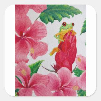 Pegatina Cuadrada Una rana arbórea verde entre hibisco rosado