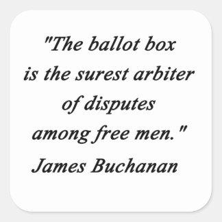 Pegatina Cuadrada Urna - James Buchanan