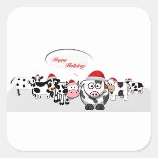 Pegatina Cuadrada Vacas lindas del navidad buenas fiestas