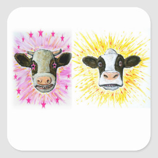 Pegatina Cuadrada Vacas locas