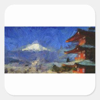 Pegatina Cuadrada Van Gogh Mt-Fuji-Japón