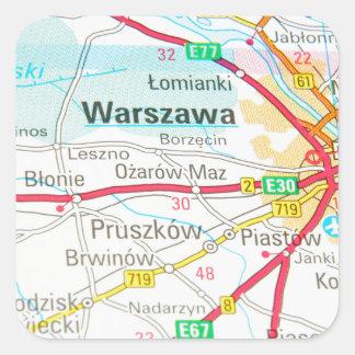 Pegatina Cuadrada Varsovia, Varsovia en Polonia