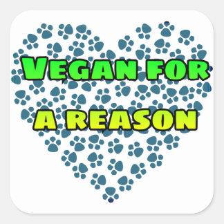 Pegatina Cuadrada Vegano por una razón