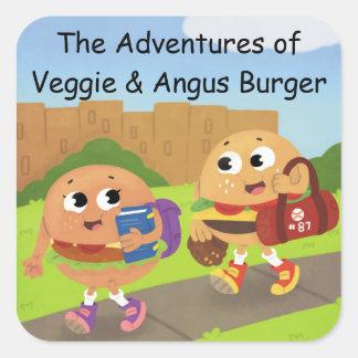 Pegatina Cuadrada Veggie y pegatinas de Angus