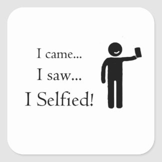 Pegatina Cuadrada Veni Vidi Selfie