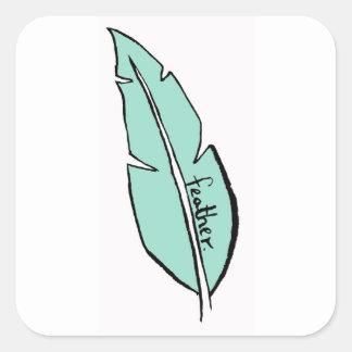 Pegatina Cuadrada verde de la pluma