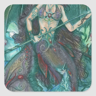 Pegatina Cuadrada Verde del trullo del mar del océano del unicornio