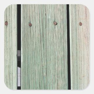 Pegatina Cuadrada Verde y calzada de madera del tablón de Brown