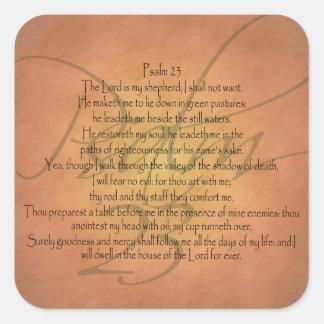 Pegatina Cuadrada Verso cristiano de la biblia del salmo 23 KJV