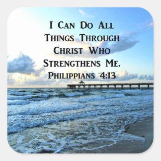 PEGATINA CUADRADA VERSO PRECIOSO DE LA BIBLIA DEL 4:13 DE LOS