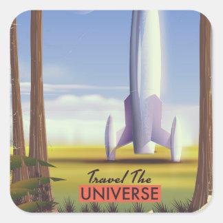 Pegatina Cuadrada Viaja el espacio retro Art. del universo