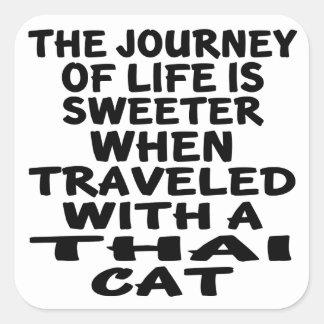 Pegatina Cuadrada Viajado con el gato tailandés