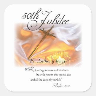 Pegatina Cuadrada Vida religiosa del jubileo de oro, vela cruzada