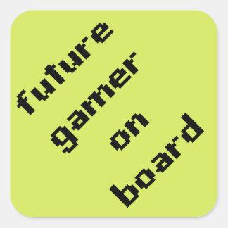 Pegatina Cuadrada Videojugador futuro a bordo