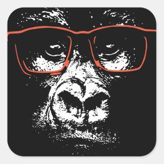 Pegatina Cuadrada Vidrios del rojo del gorila