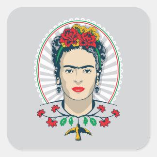 Pegatina Cuadrada Vintage de Frida Kahlo el   floral