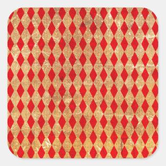Pegatina Cuadrada Vintage del rojo del Harlequin