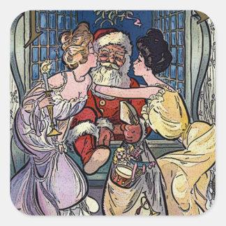 Pegatina Cuadrada Vintage Papá Noel
