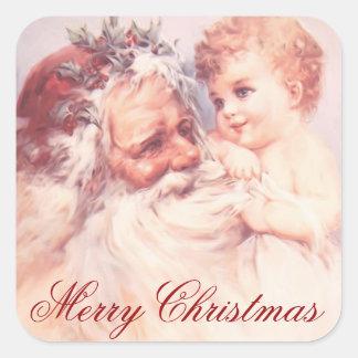 Pegatina Cuadrada Vintage Papá Noel de las Felices Navidad y niño