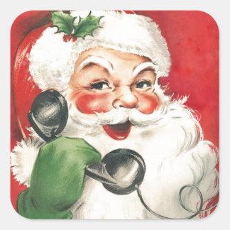 Pegatina Cuadrada Vintage Papá Noel en el teléfono
