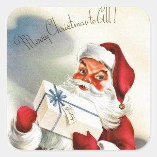 Pegatina Cuadrada Vintage Papá Noel que lleva a cabo un presente
