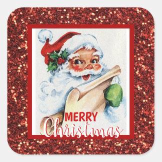 Pegatina Cuadrada Vintage rojo Papá Noel del purpurina de las
