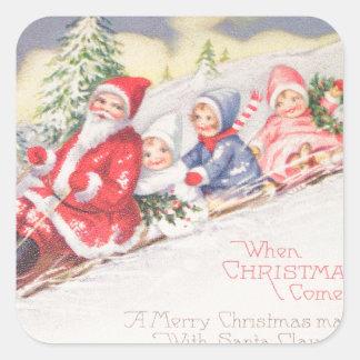 Pegatina Cuadrada vintage-santa-christmas-post-cards-0390