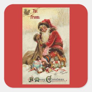 Pegatina Cuadrada Vintage Santa de las Felices Navidad