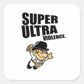 Pegatina Cuadrada violencia estupenda del dibujo animado ultra