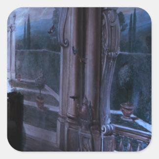 Pegatina Cuadrada Vuelta artística del puente de Windows de las