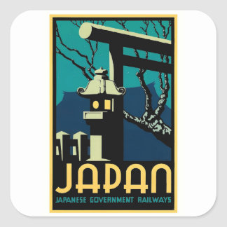 Pegatina Cuadrada World Travel japonés del vintage de los
