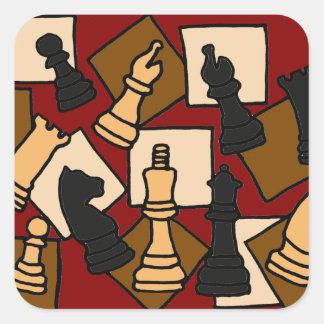 Pegatina Cuadrada WW- el juego de ajedrez junta las piezas de arte