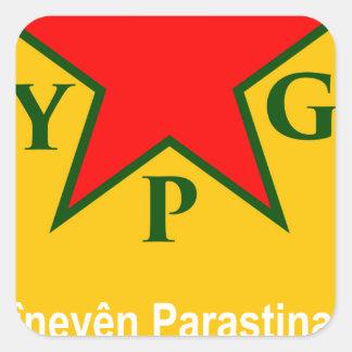 Pegatina Cuadrada ypg-ypj - kobani de la ayuda