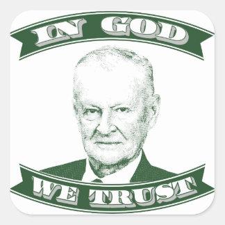 Pegatina Cuadrada Zbigniew Brzezinski en dios que confiamos en